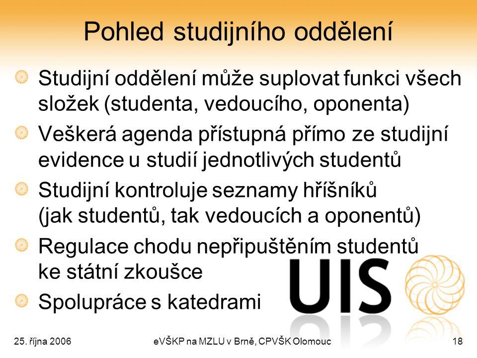 25. října 2006eVŠKP na MZLU v Brně, CPVŠK Olomouc18 Pohled studijního oddělení Studijní oddělení může suplovat funkci všech složek (studenta, vedoucíh