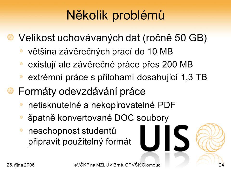 25. října 2006eVŠKP na MZLU v Brně, CPVŠK Olomouc24 Několik problémů Velikost uchovávaných dat (ročně 50 GB) většina závěrečných prací do 10 MB existu