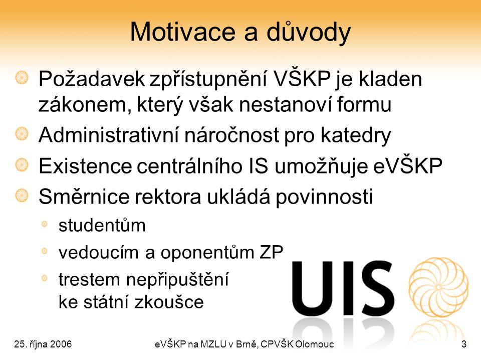 25. října 2006eVŠKP na MZLU v Brně, CPVŠK Olomouc3 Motivace a důvody Požadavek zpřístupnění VŠKP je kladen zákonem, který však nestanoví formu Adminis