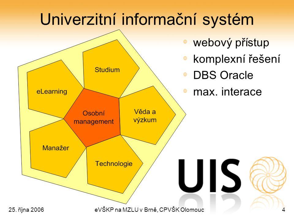 25. října 2006eVŠKP na MZLU v Brně, CPVŠK Olomouc4 Univerzitní informační systém webový přístup komplexní řešení DBS Oracle max. interace