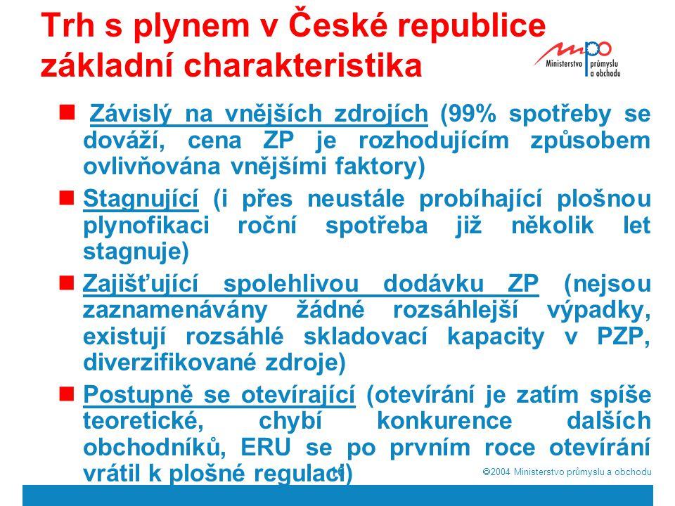  2004  Ministerstvo průmyslu a obchodu 16 Trh s plynem v České republice základní charakteristika Závislý na vnějších zdrojích (99% spotřeby se dováží, cena ZP je rozhodujícím způsobem ovlivňována vnějšími faktory) Stagnující (i přes neustále probíhající plošnou plynofikaci roční spotřeba již několik let stagnuje) Zajišťující spolehlivou dodávku ZP (nejsou zaznamenávány žádné rozsáhlejší výpadky, existují rozsáhlé skladovací kapacity v PZP, diverzifikované zdroje) Postupně se otevírající (otevírání je zatím spíše teoretické, chybí konkurence dalších obchodníků, ERU se po prvním roce otevírání vrátil k plošné regulaci)