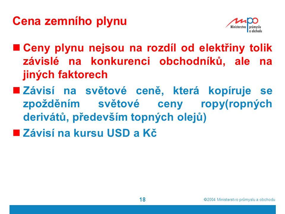  2004  Ministerstvo průmyslu a obchodu 18 Cena zemního plynu Ceny plynu nejsou na rozdíl od elektřiny tolik závislé na konkurenci obchodníků, ale n