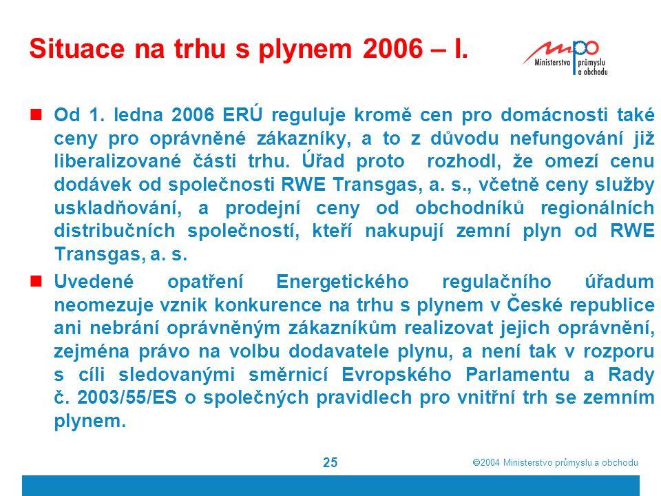  2004  Ministerstvo průmyslu a obchodu 25 Situace na trhu s plynem 2006 – I. Od 1. ledna 2006 ERÚ reguluje kromě cen pro domácnosti také ceny pro o