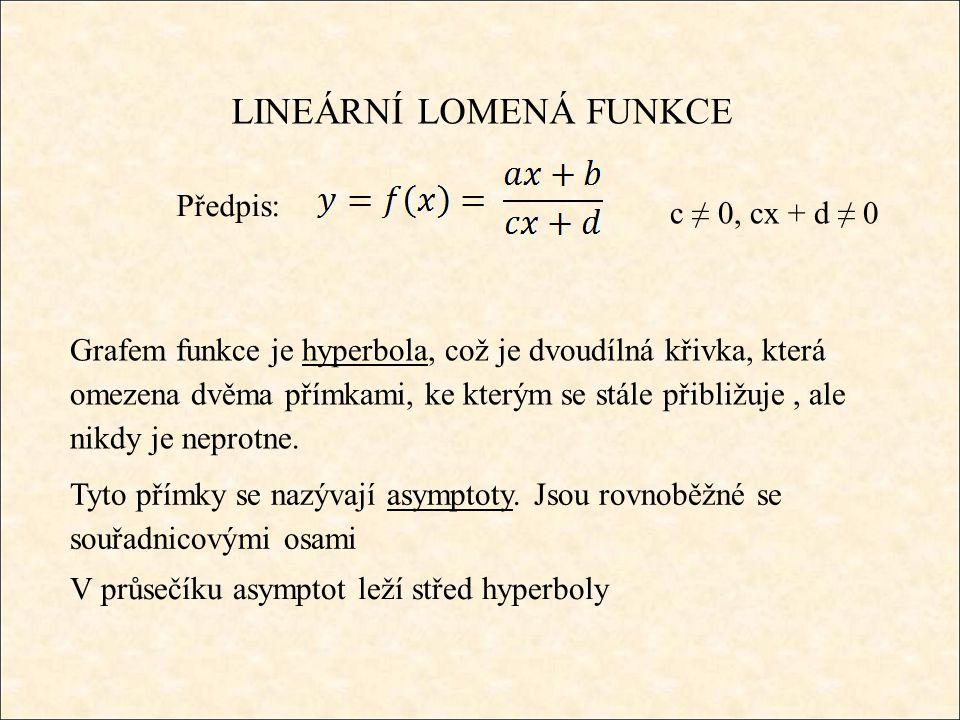 LINEÁRNÍ LOMENÁ FUNKCE Předpis: Grafem funkce je hyperbola, což je dvoudílná křivka, která omezena dvěma přímkami, ke kterým se stále přibližuje, ale nikdy je neprotne.