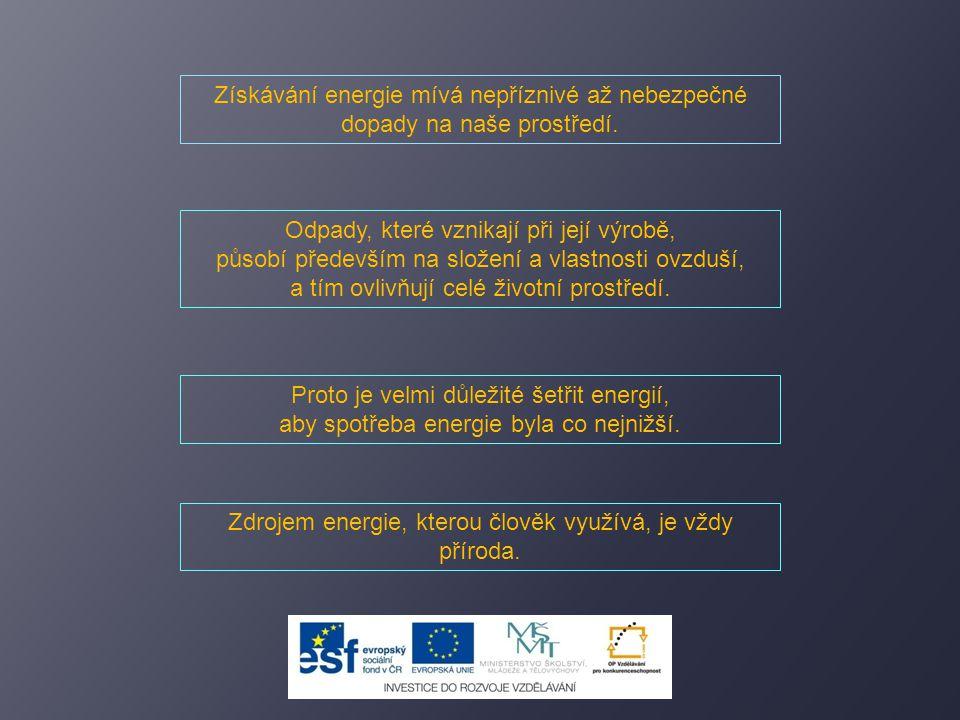 Získávání energie mívá nepříznivé až nebezpečné dopady na naše prostředí. Odpady, které vznikají při její výrobě, působí především na složení a vlastn