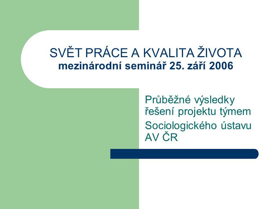 Složení řešitelského týmu PhDr.Zdenka Mansfeldová, CSc., vedoucí týmu Ing.