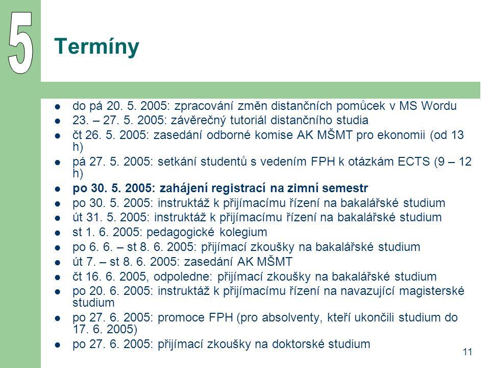 11 Termíny do pá 20. 5. 2005: zpracování změn distančních pomůcek v MS Wordu 23.