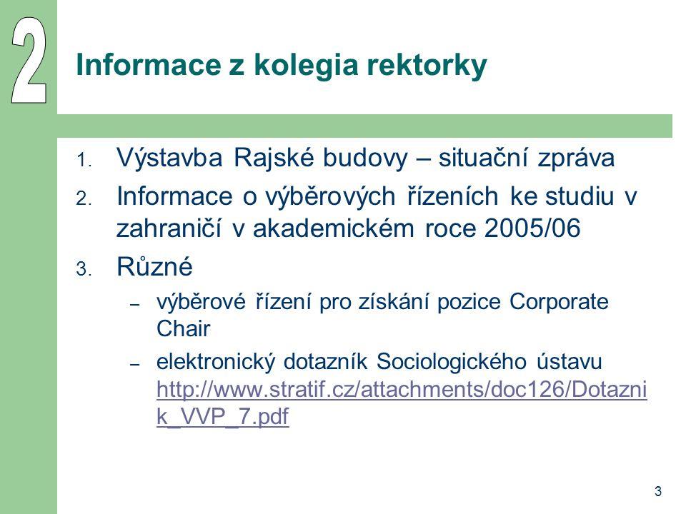 3 Informace z kolegia rektorky 1. Výstavba Rajské budovy – situační zpráva 2.