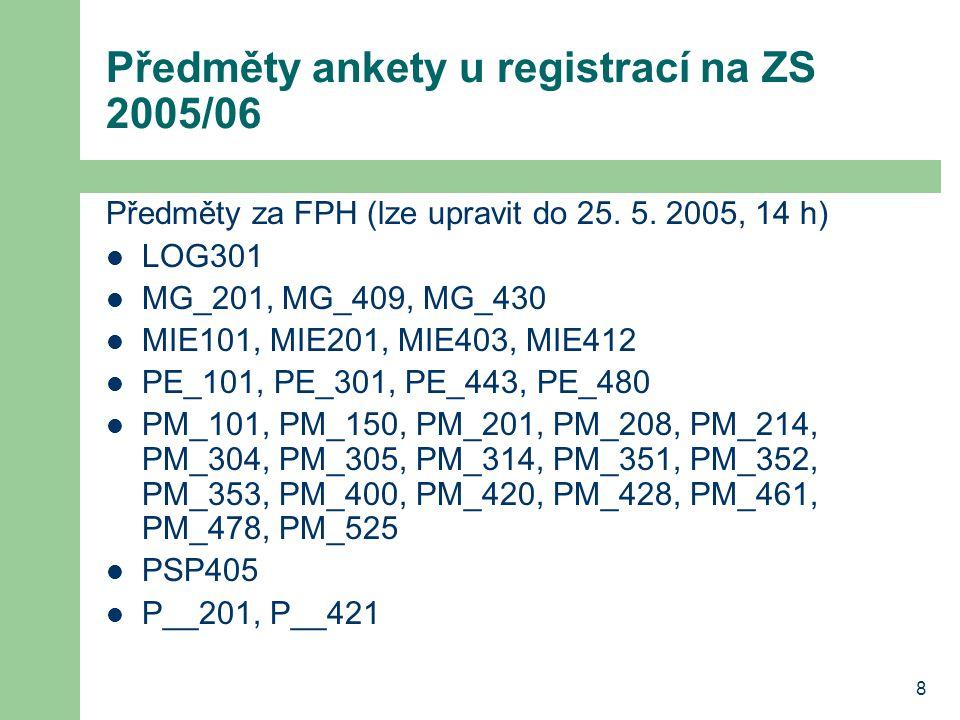 8 Předměty ankety u registrací na ZS 2005/06 Předměty za FPH (lze upravit do 25.