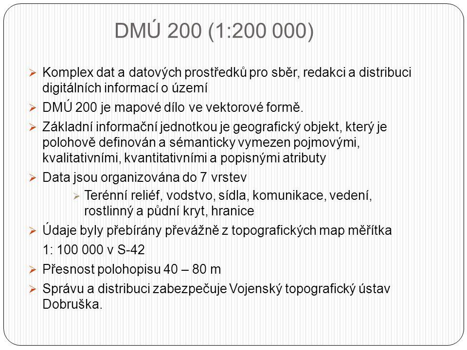 DMÚ 200 (1:200 000)  Komplex dat a datových prostředků pro sběr, redakci a distribuci digitálních informací o území  DMÚ 200 je mapové dílo ve vektorové formě.