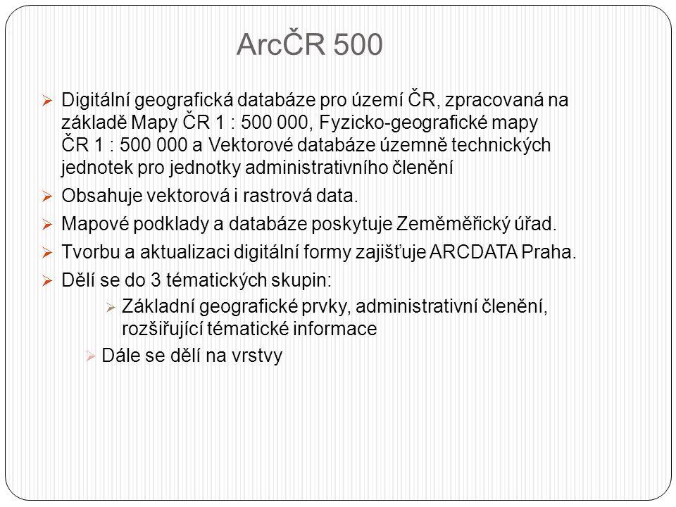 ArcČR 500  Digitální geografická databáze pro území ČR, zpracovaná na základě Mapy ČR 1 : 500 000, Fyzicko-geografické mapy ČR 1 : 500 000 a Vektorové databáze územně technických jednotek pro jednotky administrativního členění  Obsahuje vektorová i rastrová data.