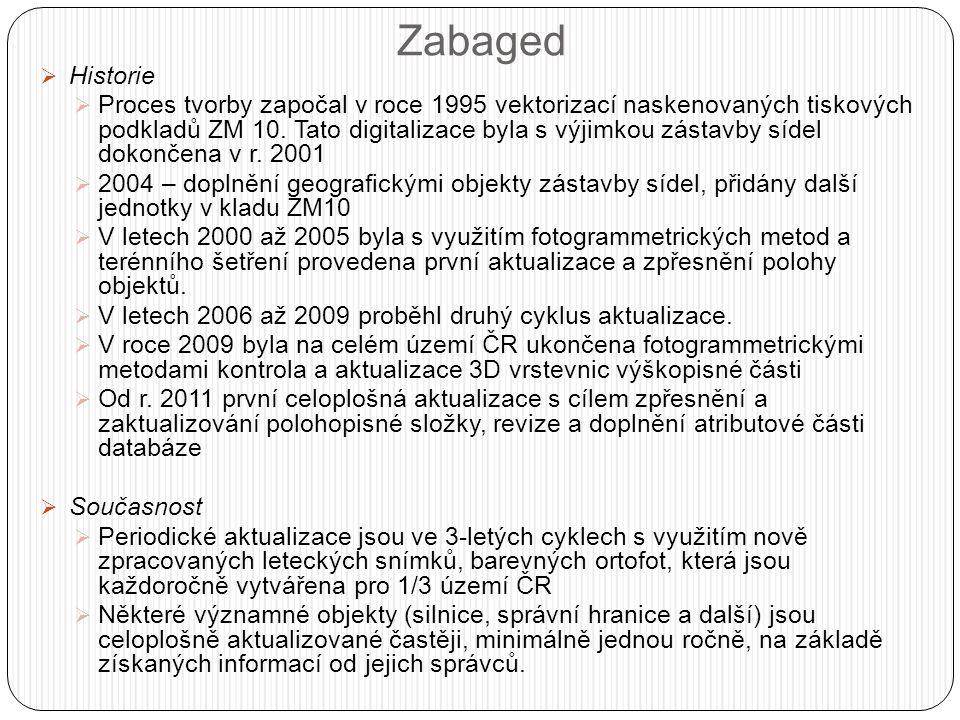 Zabaged  Historie  Proces tvorby započal v roce 1995 vektorizací naskenovaných tiskových podkladů ZM 10.