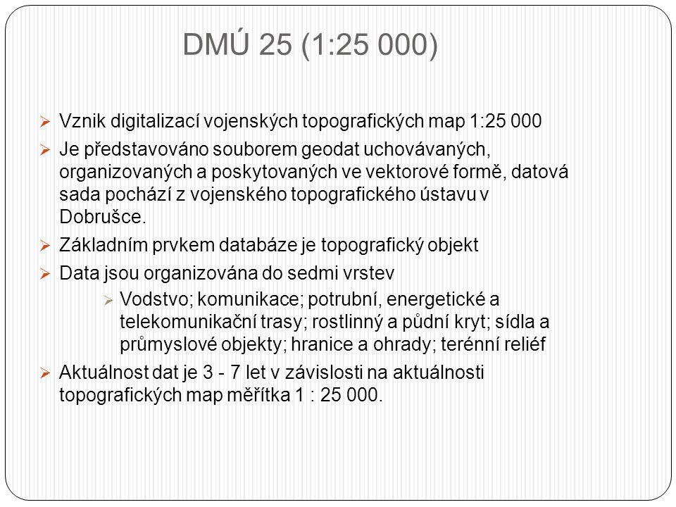 DMÚ 25 (1:25 000)  Vznik digitalizací vojenských topografických map 1:25 000  Je představováno souborem geodat uchovávaných, organizovaných a poskytovaných ve vektorové formě, datová sada pochází z vojenského topografického ústavu v Dobrušce.
