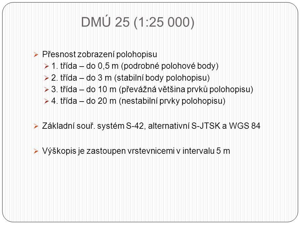 DMÚ 25 (1:25 000)  Přesnost zobrazení polohopisu  1.