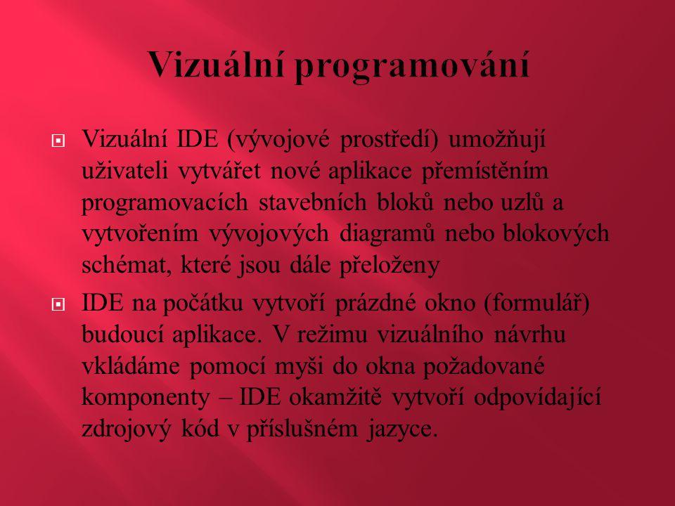  Vizuální IDE (vývojové prostředí) umožňují uživateli vytvářet nové aplikace přemístěním programovacích stavebních bloků nebo uzlů a vytvořením vývoj