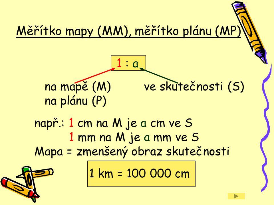 1 : a na mapě (M)ve skutečnosti (S) na plánu (P) např.: 1 cm na M je a cm ve S 1 mm na M je a mm ve S Mapa = zmenšený obraz skutečnosti 1 km = 100 000