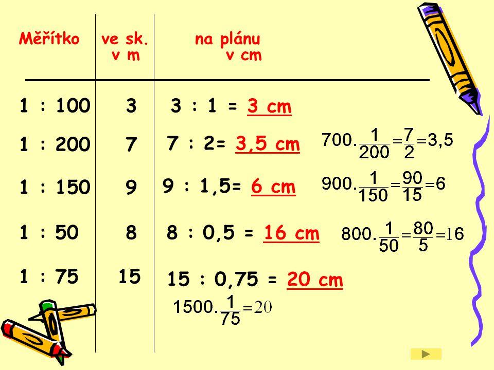 Měřítko ve sk. na plánu v m v cm 1 : 100 3 7 : 2= 3,5 cm 1 : 150 9 1 : 7515 3 : 1 = 3 cm 8 : 0,5 = 16 cm 1 : 200 7 9 : 1,5= 6 cm 1 : 50 8 15 : 0,75 =