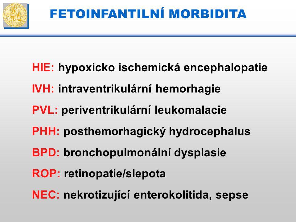 FETOINFANTILNÍ MORBIDITA HIE: hypoxicko ischemická encephalopatie IVH: intraventrikulární hemorhagie PVL: periventrikulární leukomalacie PHH: posthemo