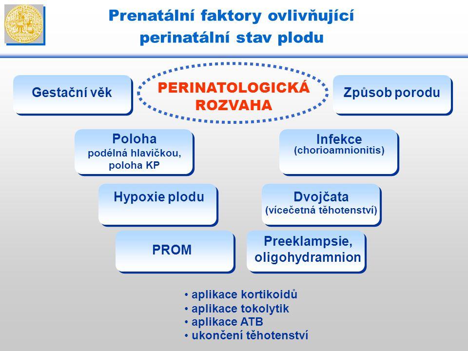 Prenatální faktory ovlivňující perinatální stav plodu PERINATOLOGICKÁ ROZVAHA Hypoxie plodu Gestační věk aplikace kortikoidů aplikace tokolytik aplika