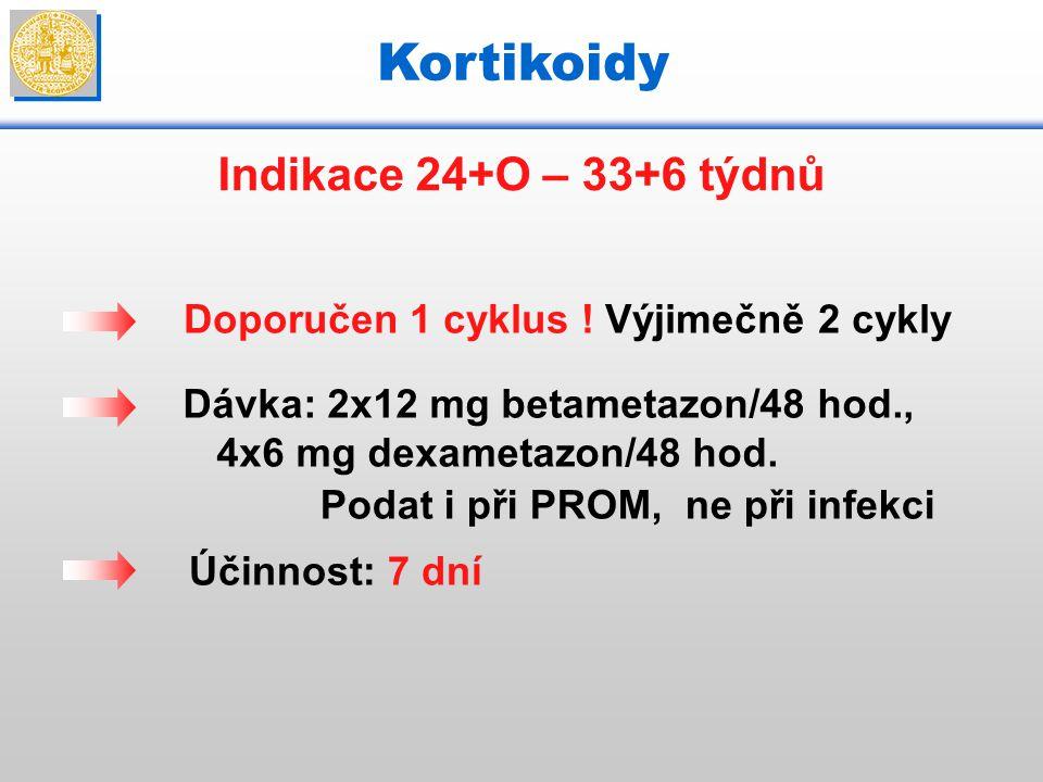 Kortikoidy Indikace 24+O – 33+6 týdnů Doporučen 1 cyklus ! Výjimečně 2 cykly Dávka: 2x12 mg betametazon/48 hod., 4x6 mg dexametazon/48 hod. Podat i př
