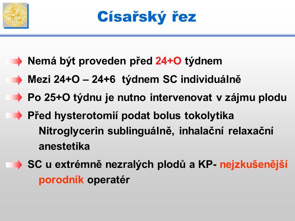 Nemá být proveden před 24+O týdnem Mezi 24+O – 24+6 týdnem SC individuálně Po 25+O týdnu je nutno intervenovat v zájmu plodu Před hysterotomií podat b