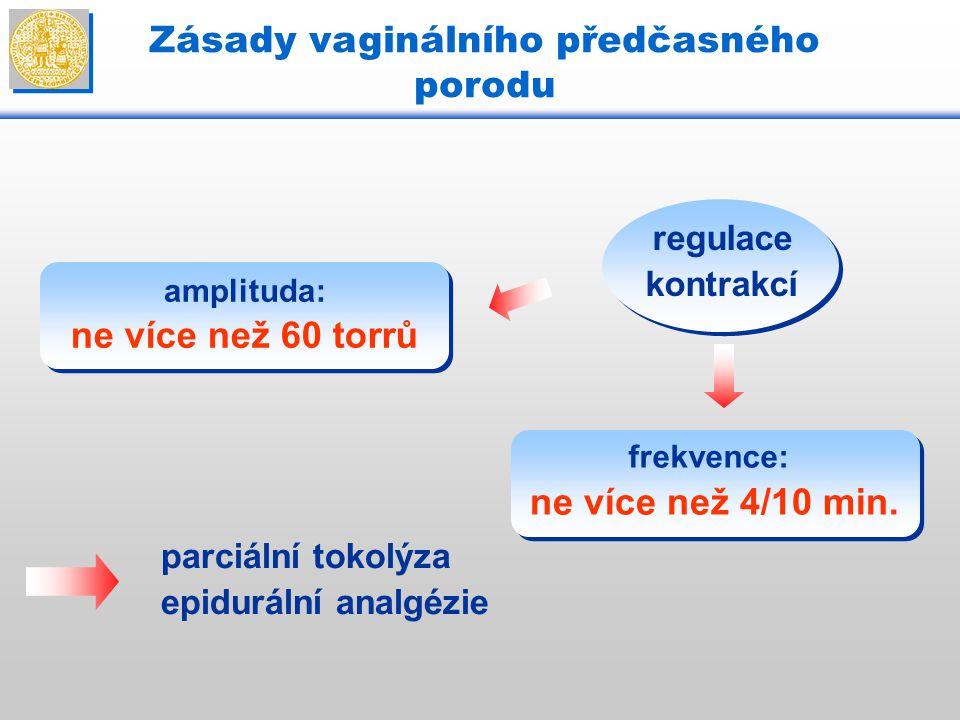 regulace kontrakcí amplituda: ne více než 60 torrů frekvence: ne více než 4/10 min. parciální tokolýza epidurální analgézie Zásady vaginálního předčas