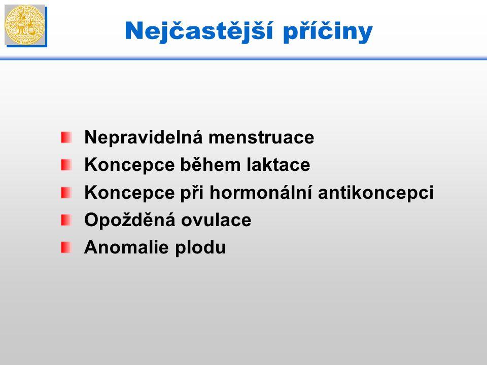 Nejčastější příčiny Nepravidelná menstruace Koncepce během laktace Koncepce při hormonální antikoncepci Opožděná ovulace Anomalie plodu