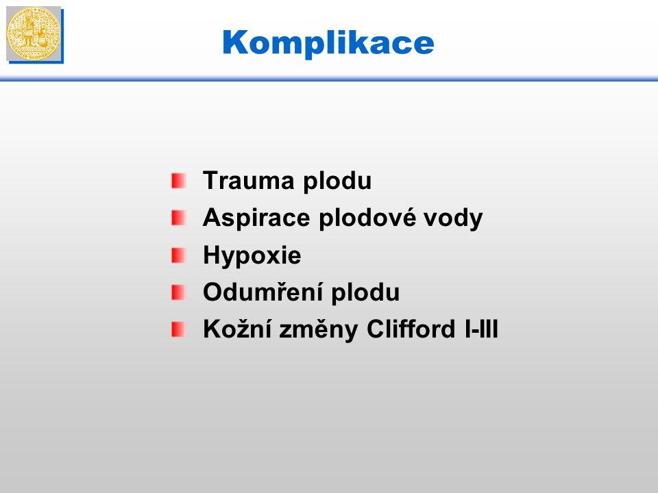 Komplikace Trauma plodu Aspirace plodové vody Hypoxie Odumření plodu Kožní změny Clifford I-III