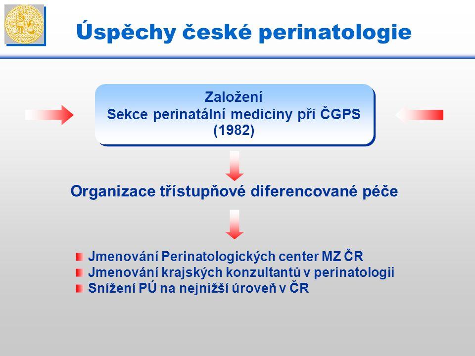 Úspěchy české perinatologie Založení Sekce perinatální mediciny při ČGPS (1982) Organizace třístupňové diferencované péče Jmenování Perinatologických