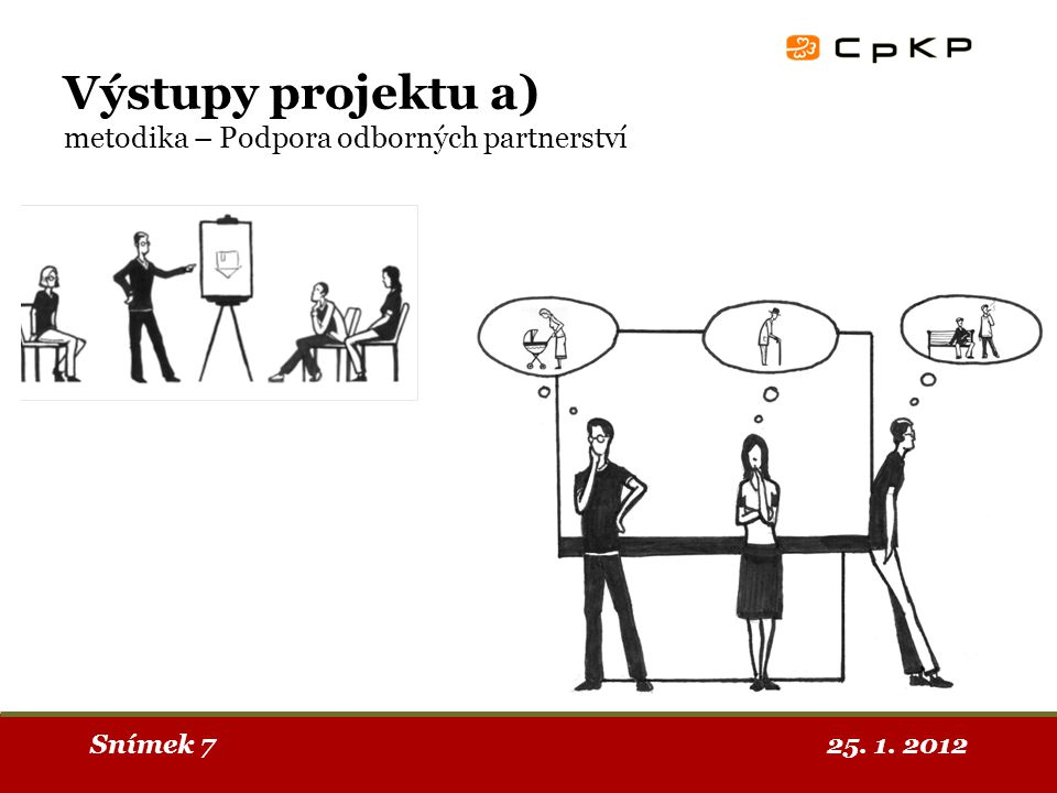 25. 1. 2012Snímek 7 Výstupy projektu a) metodika – Podpora odborných partnerství
