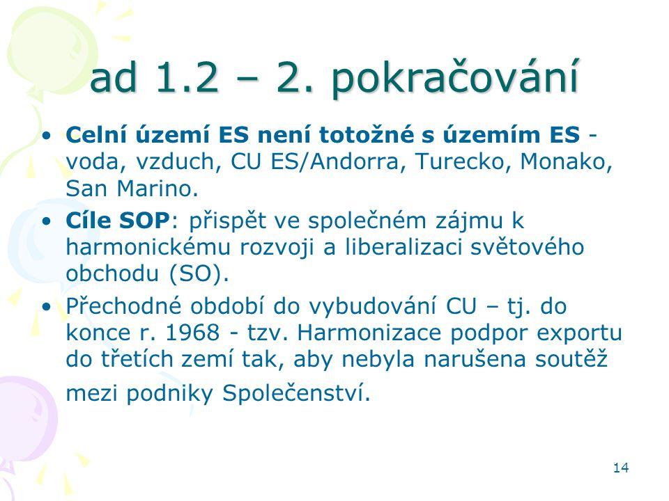 14 ad 1.2 – 2. pokračování Celní území ES není totožné s územím ES - voda, vzduch, CU ES/Andorra, Turecko, Monako, San Marino. Cíle SOP: přispět ve sp