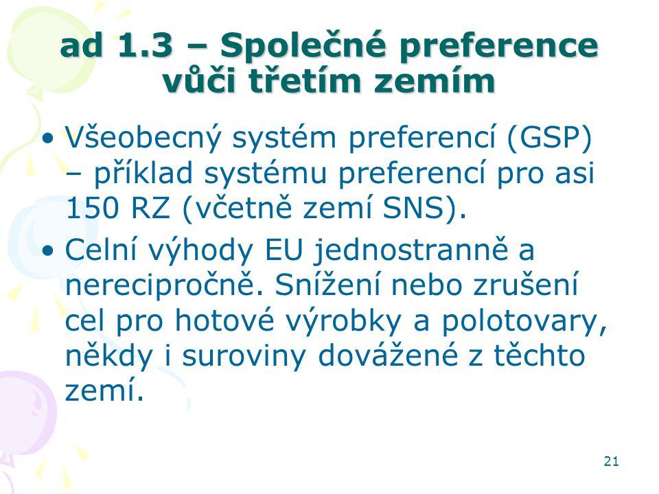 21 ad 1.3 – Společné preference vůči třetím zemím Všeobecný systém preferencí (GSP) – příklad systému preferencí pro asi 150 RZ (včetně zemí SNS). Cel