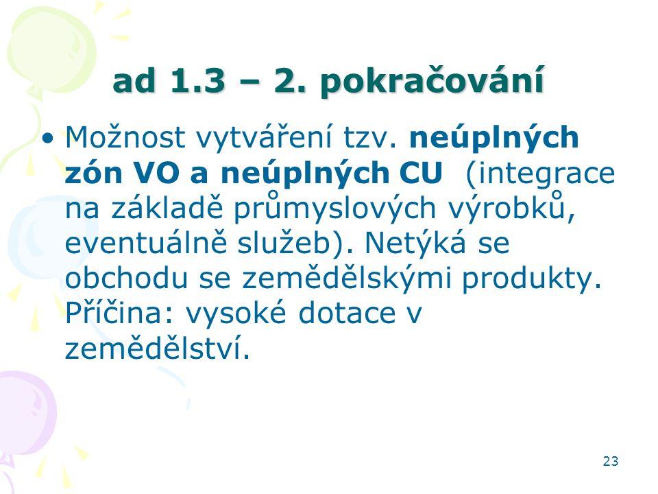 23 ad 1.3 – 2. pokračování Možnost vytváření tzv. neúplných zón VO a neúplných CU (integrace na základě průmyslových výrobků, eventuálně služeb). Netý