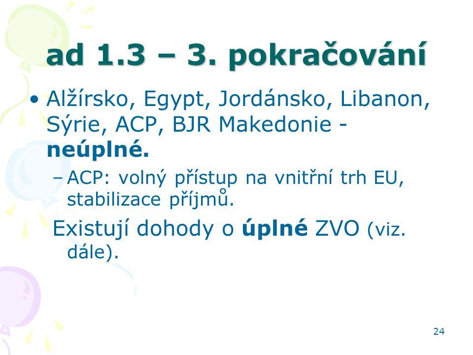 24 ad 1.3 – 3. pokračování Alžírsko, Egypt, Jordánsko, Libanon, Sýrie, ACP, BJR Makedonie - neúplné. –ACP: volný přístup na vnitřní trh EU, stabilizac
