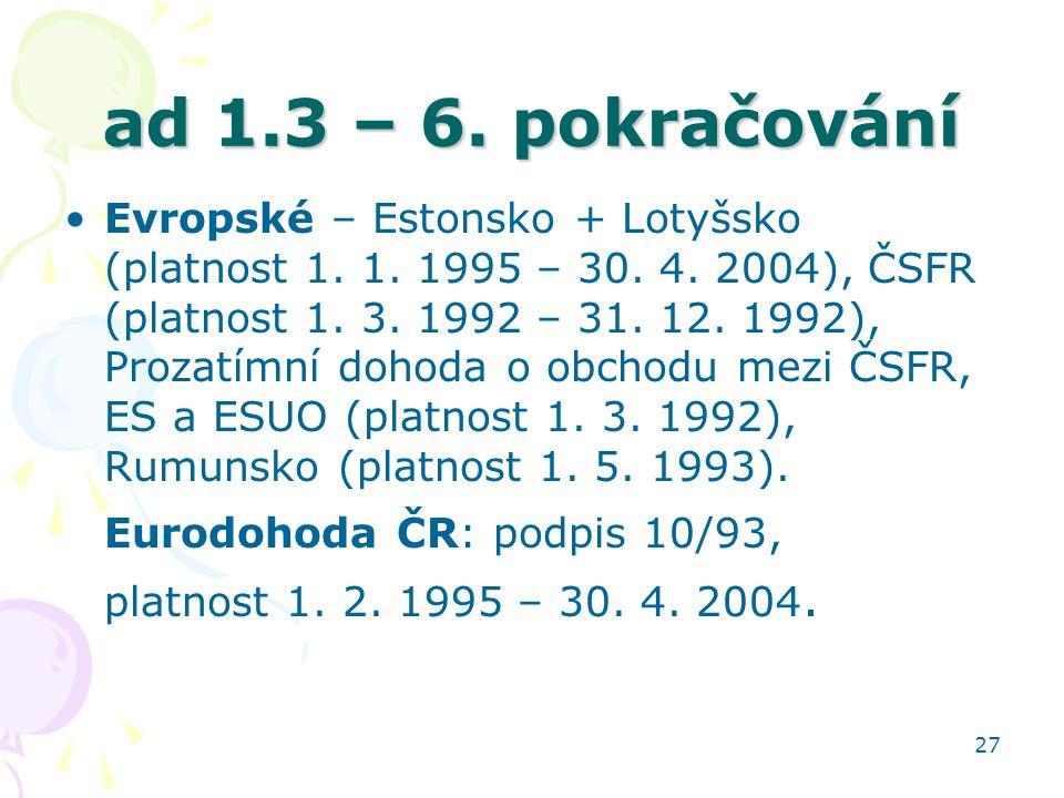 27 ad 1.3 – 6. pokračování Evropské – Estonsko + Lotyšsko (platnost 1. 1. 1995 – 30. 4. 2004), ČSFR (platnost 1. 3. 1992 – 31. 12. 1992), Prozatímní d