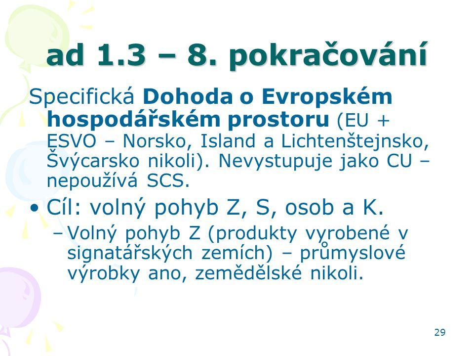 29 ad 1.3 – 8. pokračování Specifická Dohoda o Evropském hospodářském prostoru (EU + ESVO – Norsko, Island a Lichtenštejnsko, Švýcarsko nikoli). Nevys