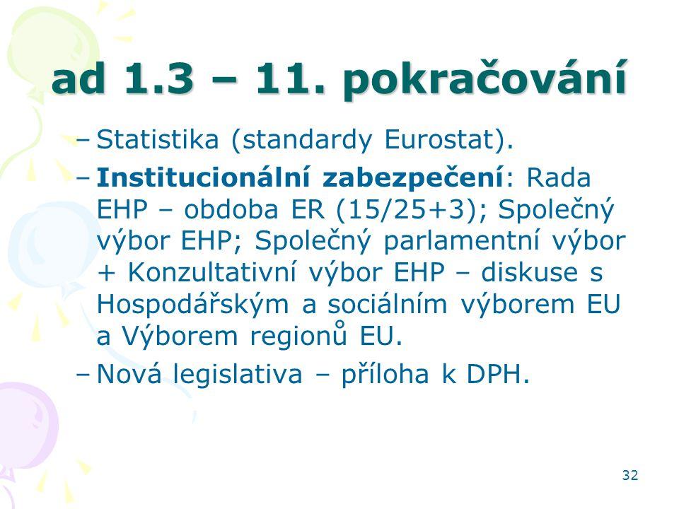 32 ad 1.3 – 11. pokračování –Statistika (standardy Eurostat). –Institucionální zabezpečení: Rada EHP – obdoba ER (15/25+3); Společný výbor EHP; Společ