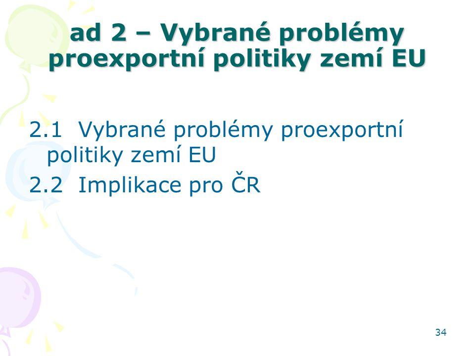 34 ad 2 – Vybrané problémy proexportní politiky zemí EU 2.1 Vybrané problémy proexportní politiky zemí EU 2.2 Implikace pro ČR
