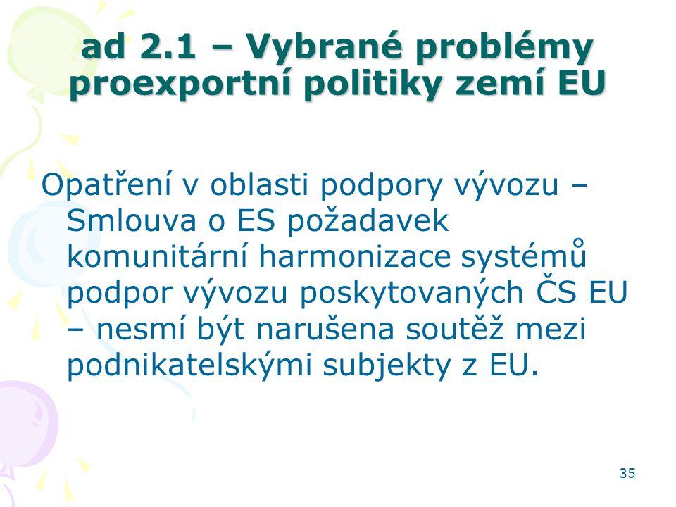 35 ad 2.1 – Vybrané problémy proexportní politiky zemí EU Opatření v oblasti podpory vývozu – Smlouva o ES požadavek komunitární harmonizace systémů p