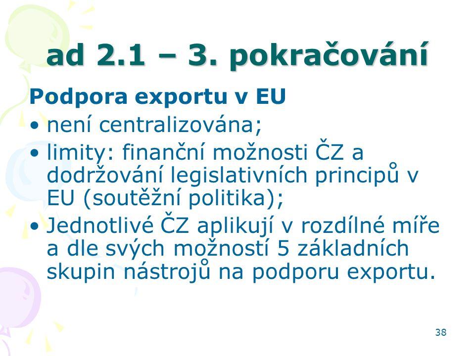 38 ad 2.1 – 3. pokračování Podpora exportu v EU není centralizována; limity: finanční možnosti ČZ a dodržování legislativních principů v EU (soutěžní