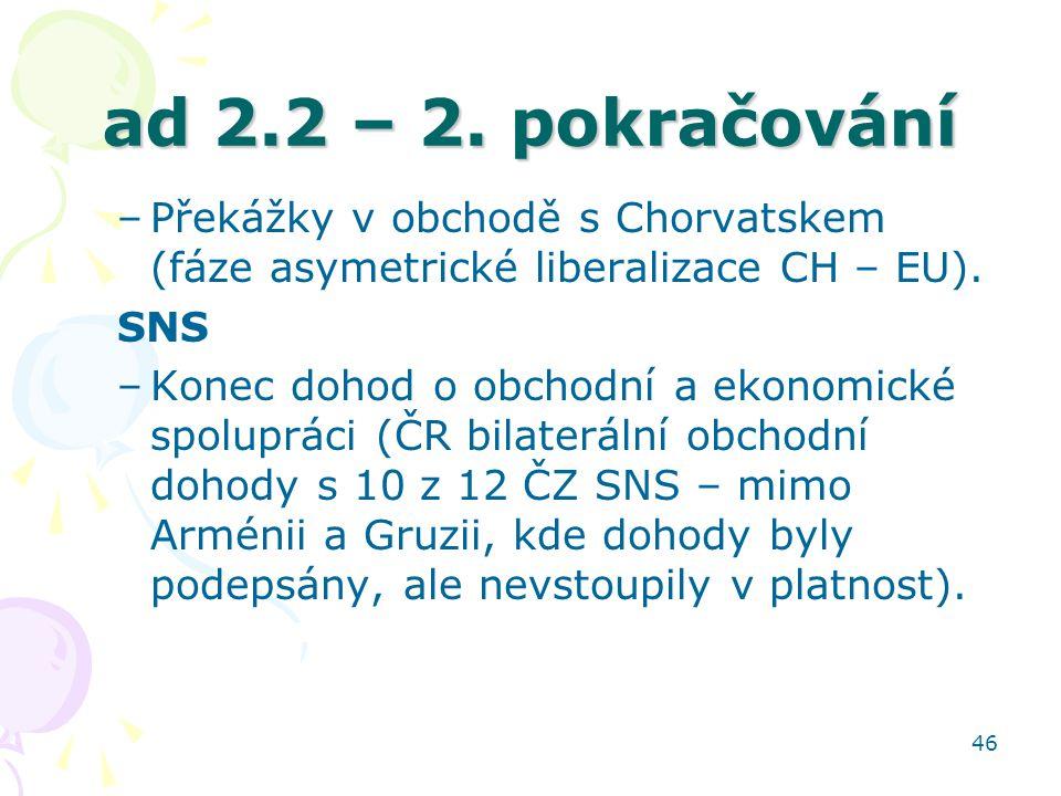 46 ad 2.2 – 2. pokračování –Překážky v obchodě s Chorvatskem (fáze asymetrické liberalizace CH – EU). SNS –Konec dohod o obchodní a ekonomické spolupr
