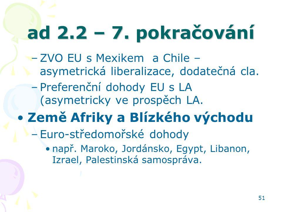 51 ad 2.2 – 7. pokračování –ZVO EU s Mexikem a Chile – asymetrická liberalizace, dodatečná cla. –Preferenční dohody EU s LA (asymetricky ve prospěch L
