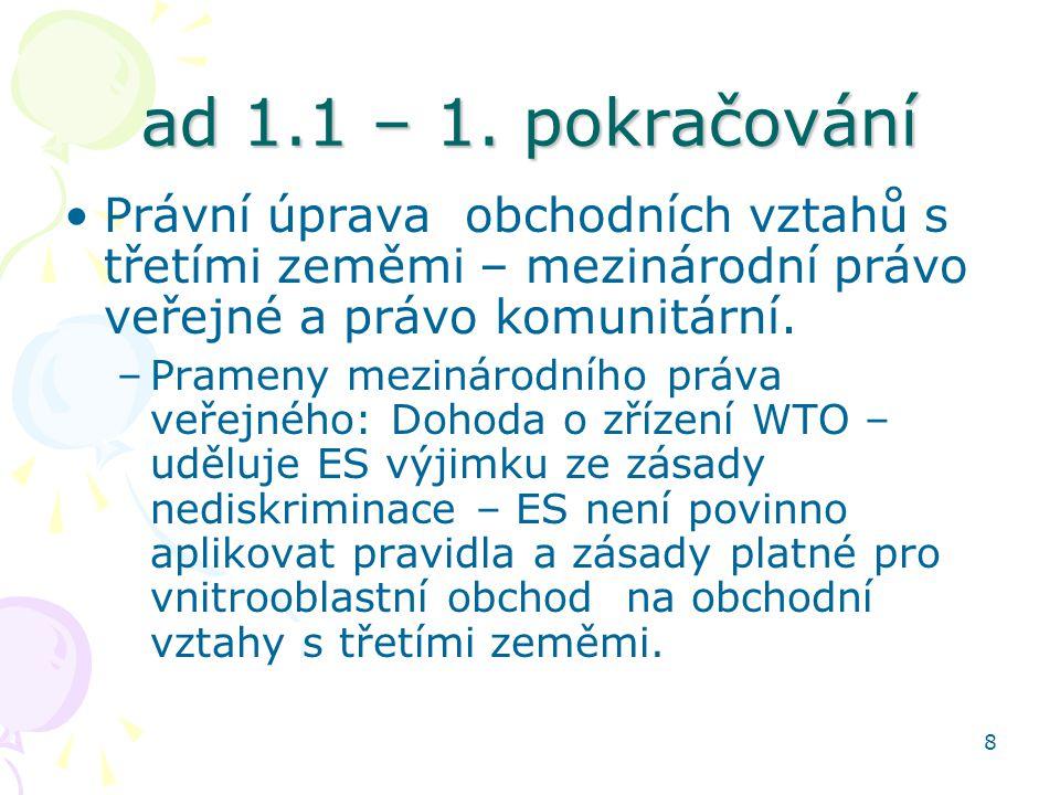 8 ad 1.1 – 1. pokračování Právní úprava obchodních vztahů s třetími zeměmi – mezinárodní právo veřejné a právo komunitární. –Prameny mezinárodního prá