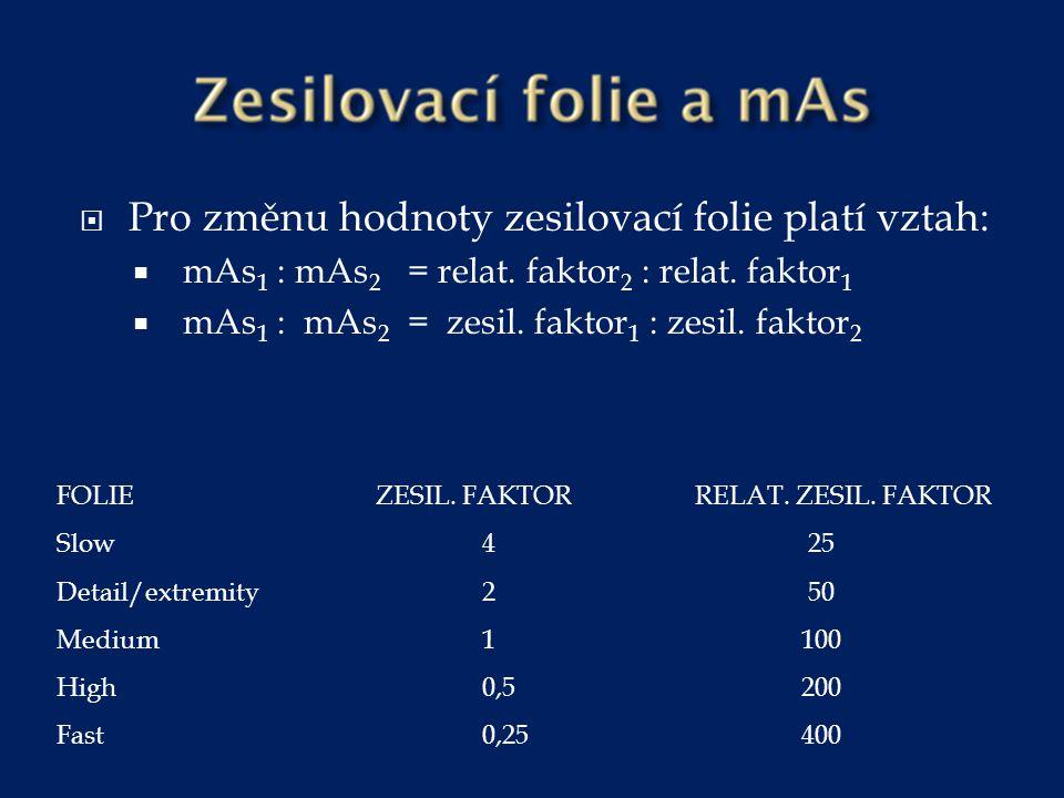  Pro změnu hodnoty zesilovací folie platí vztah:  mAs 1 : mAs 2 = relat. faktor 2 : relat. faktor 1  mAs 1 : mAs 2 = zesil. faktor 1 : zesil. fakto
