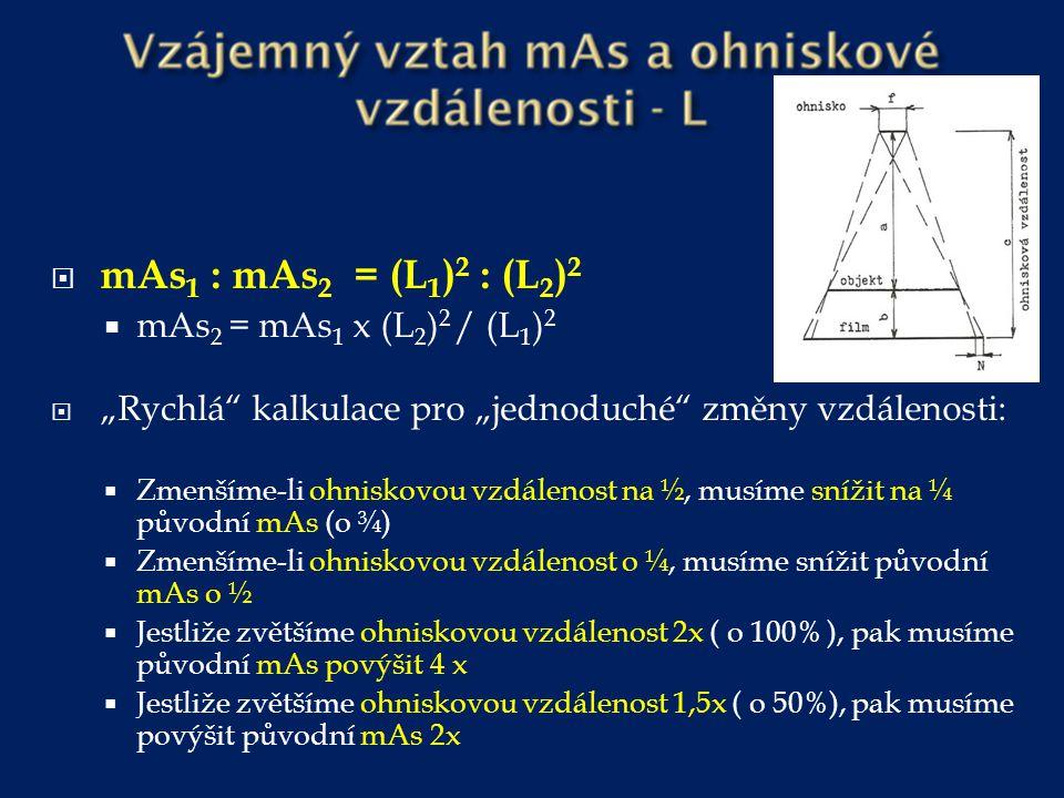  kV 2 = ( L 2 x kV 1 ) : L 1 Změna velikosti snímkovaného pole Jestliže se snímkovaná plocha zmenší o 50%, je nutné zvýšit mAs minimálně o 50% ( v závislosti na tloušťce objektu ) – týká se především cílených snímků.