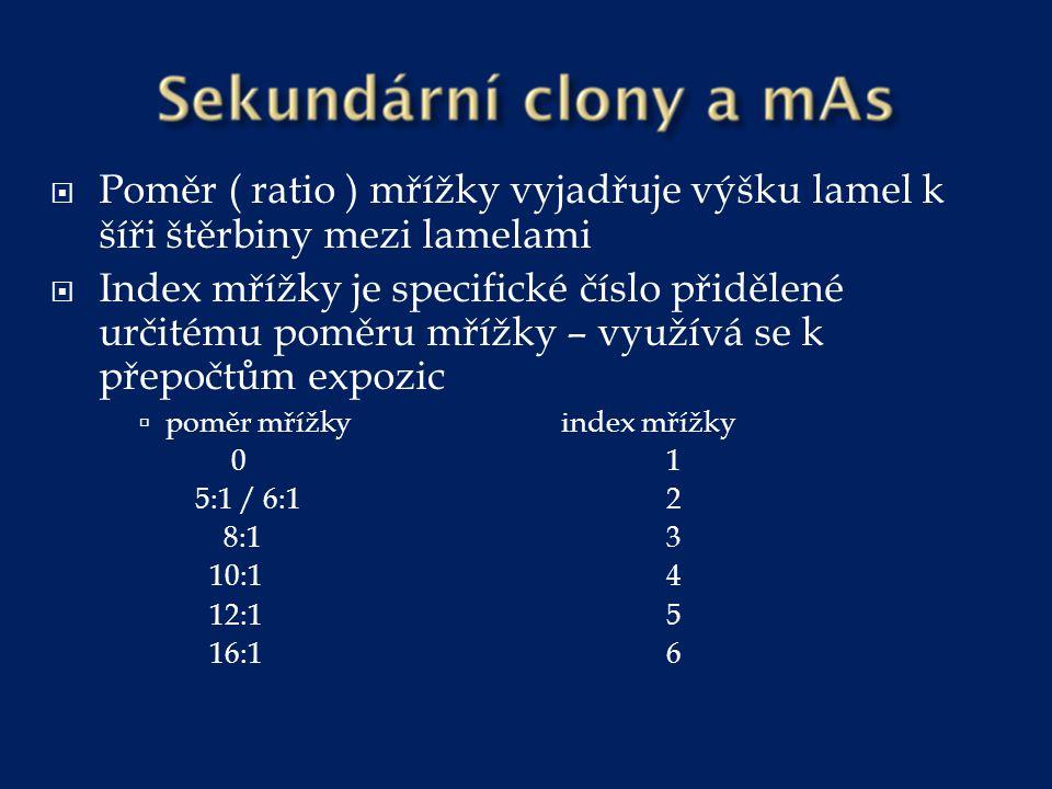  Pro výpočet nových mAs při změně mřížky a při zachování stejné denzity platí vztah:  mAs 1 = mAs 2 x index mřížky 1/ index mřížky 2 Původní mAs = 40 Původní mřížka 8:1 index 3 Nová mřížka 16:1 index 6 P-mAs = (40 x 6) : 3 N-mAs = 80