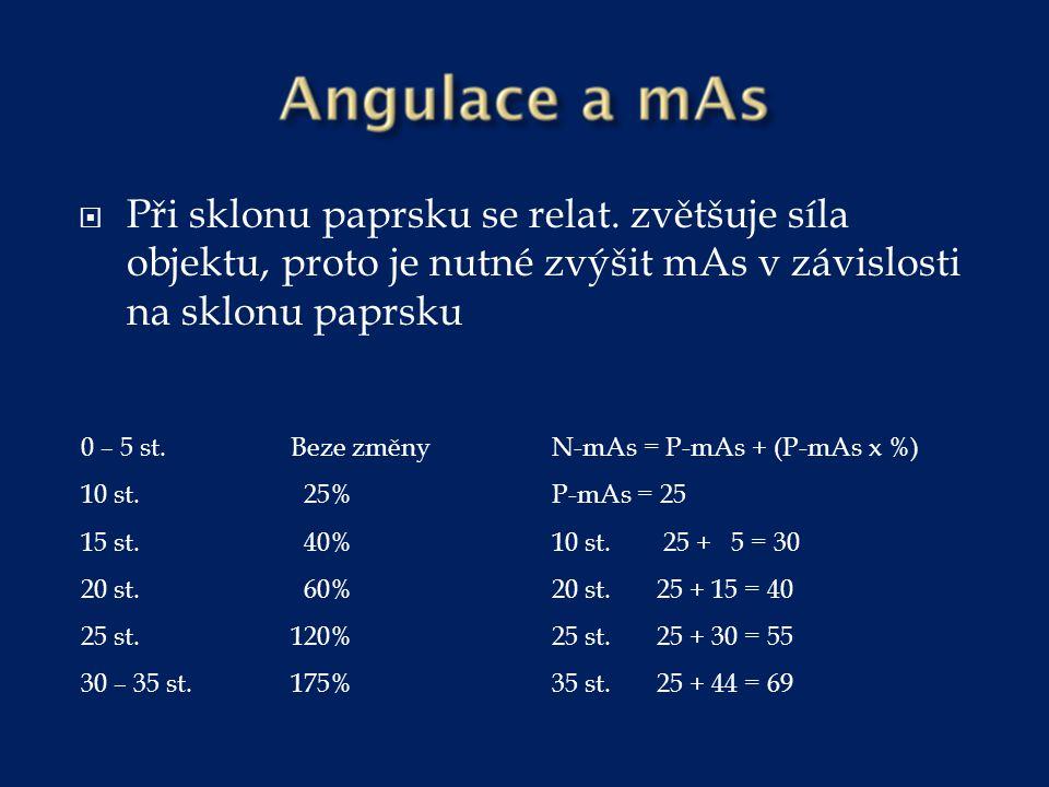  Při sklonu paprsku se relat. zvětšuje síla objektu, proto je nutné zvýšit mAs v závislosti na sklonu paprsku 0 – 5 st.Beze změny 10 st. 25% 15 st. 4