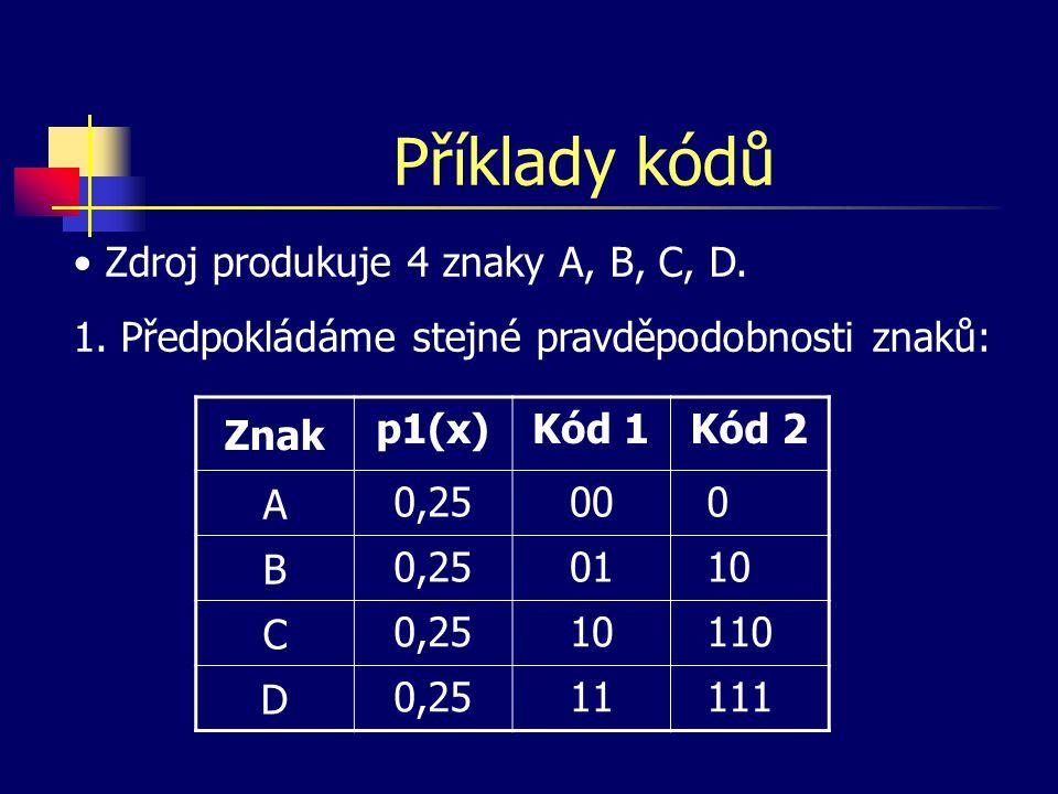 Příklady kódů Znak p2(x)Kód 1Kód 2 A 0,500 0 B 0,2501 10 C 0,12510 110 D 0,12511 111 2.