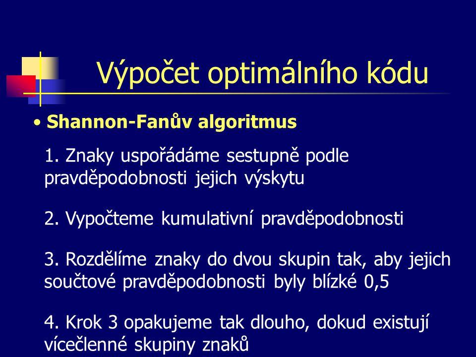 Shannon-Fanův algoritmus znak psskupinyvýsledek x10,301,00 x20,240,70 x30,200,46 x40,150,26 x50,11 0 1 0 0 0 1 1 1 00 01 10 110 111
