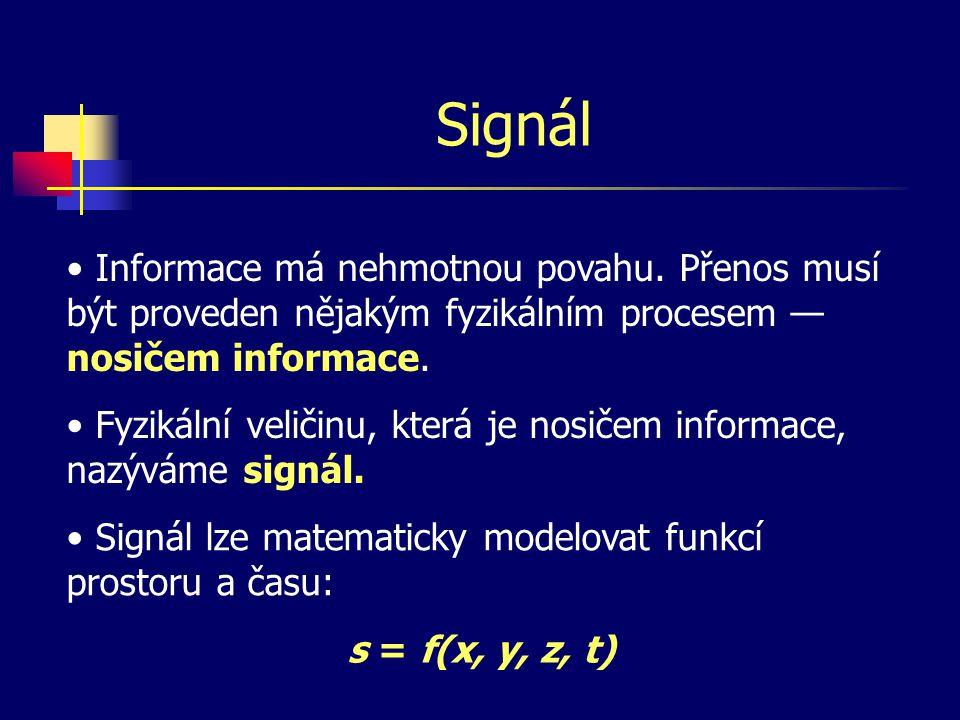Rozdělení signálů Všechny signály lze podle časového parametru rozdělit na: — spojité, každý časový okamžik signálu nese určitou informaci — diskrétní, signál nese informaci jen v některých okamžicích — statické, hodnota t nemá vliv na hodnotu signálu — dynamické, hodnota signálu závisí na hodnotě t